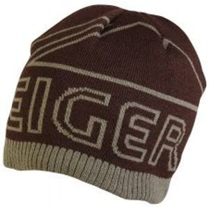 Eiger čepice logo knitted hat with fleece lining brown