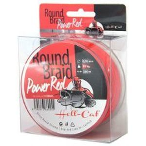 Hell-Cat Splétaná Šňůra Round Braid Power Red 200 m-Průměr 0,50 mm / Nosnost 57,50 kg
